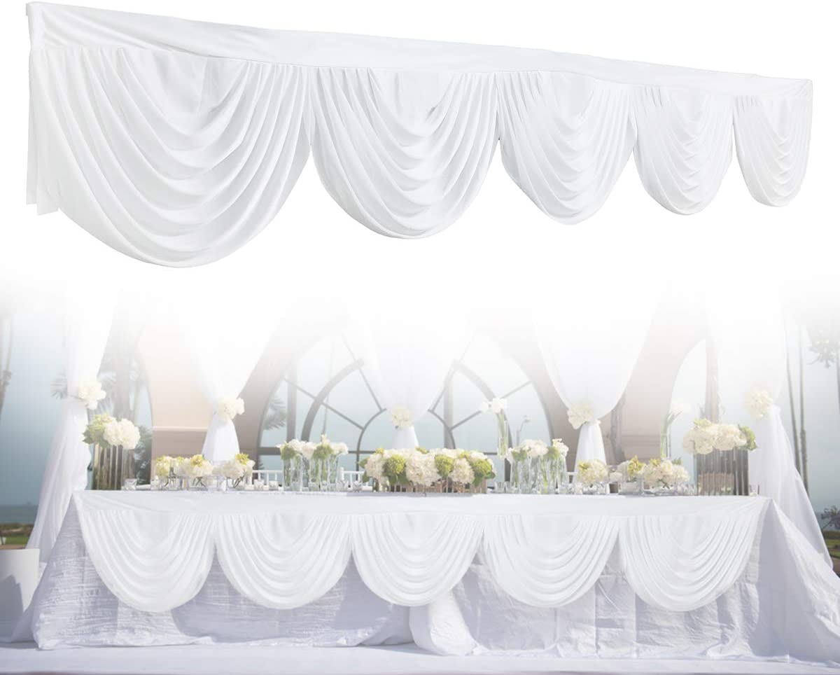GEMITTO Wedding Backdrop Swag, Window Background Valance, Removable Ice Silk Window Decorative Curtain for Party Wedding Stage Home Christmas Decoration Event Designs White