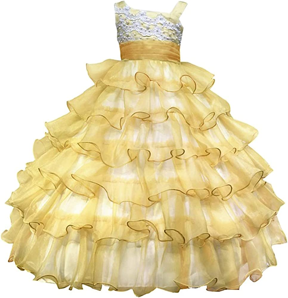 Childrens Kids Baby Girls Elegant Puffy Ruffled Layer Party Formal Dress Gown