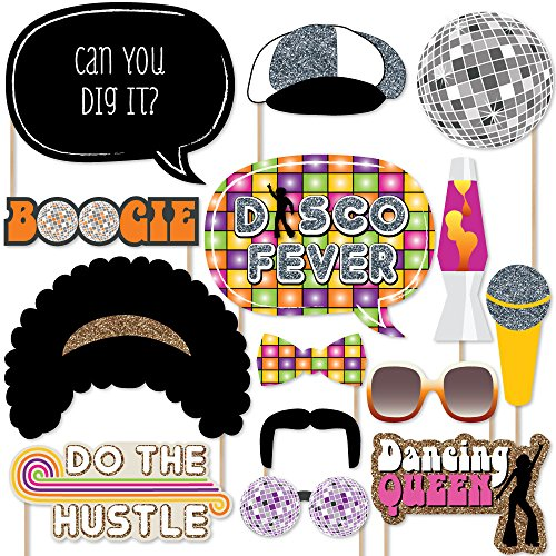 Big Dot of Happiness 70's Disco - 1970s Disco Fever Party Photo Booth Props Kit - 20 Count -