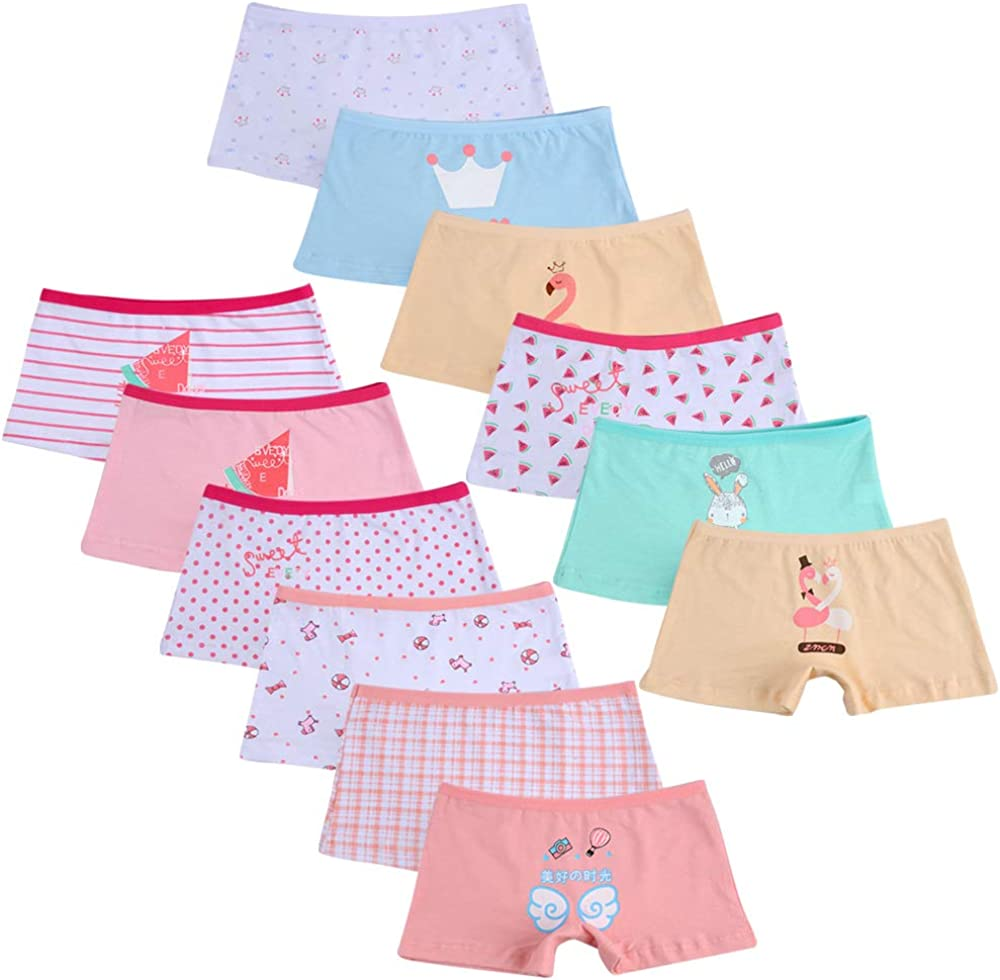 Calosy Little Girls Cotton Boyshort Underwear Baby Assorted Panties 12-Pack Bundle