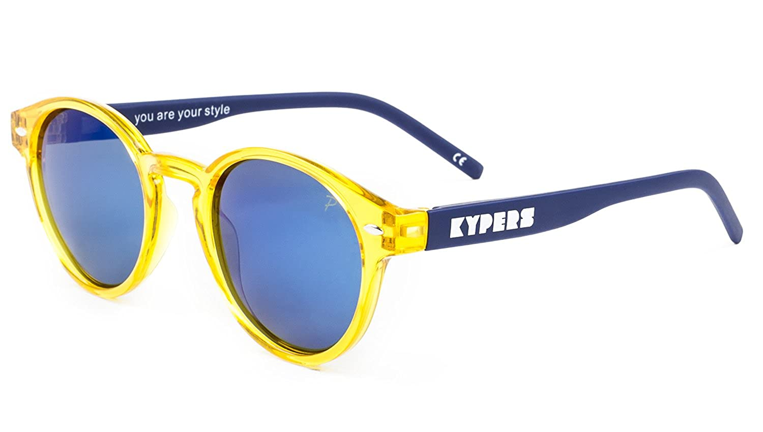KYPERS Manhattan, Gafas de Sol Unisex, Clear Yellow-Ice Blue Mirror, 49: Amazon.es: Ropa y accesorios