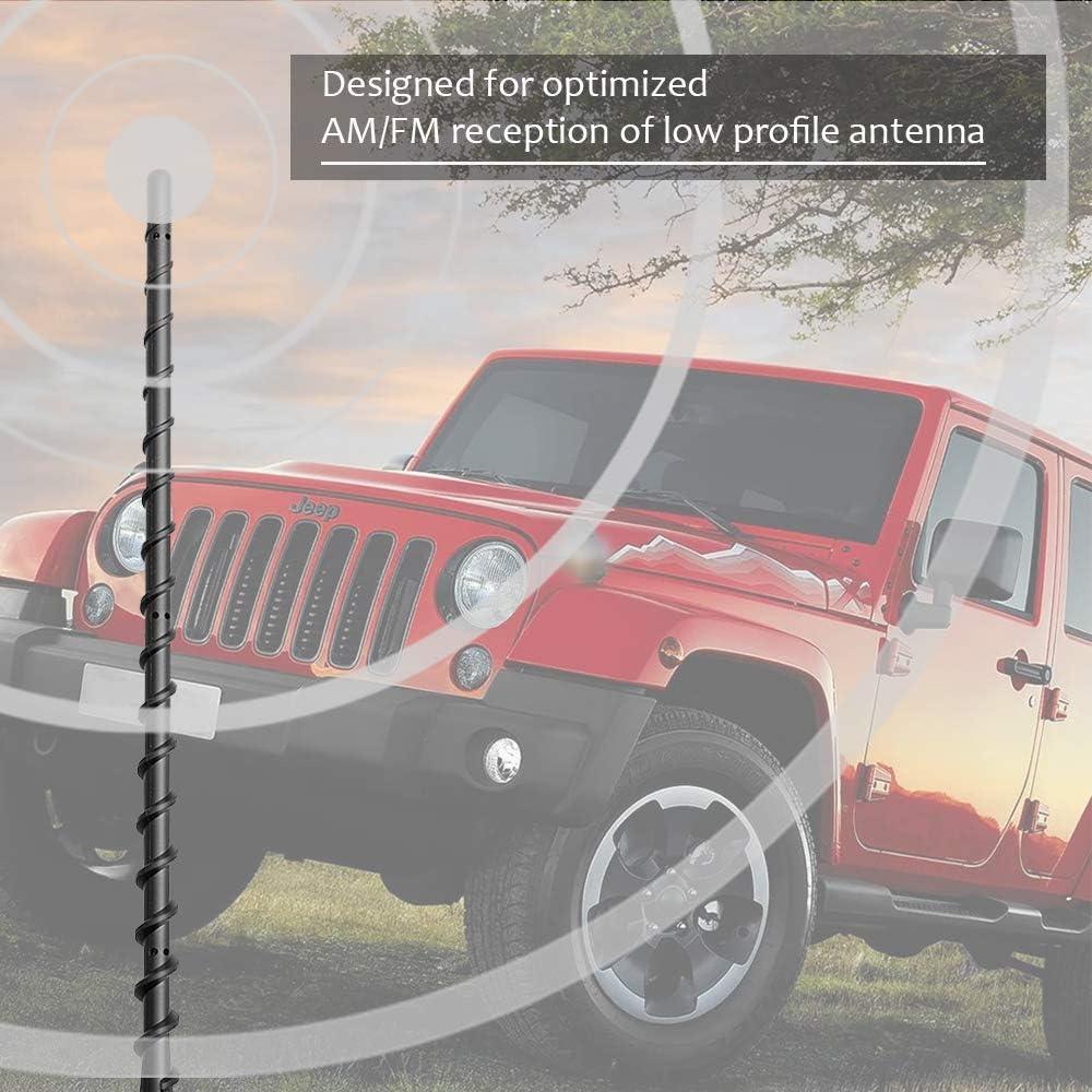 Flexible Rubber Antenna Replacement Designed for Optimized Car Radio Reception KSaAuto 13 Short Spiral Antenna Compatible with Jeep Wrangler JK JKU JL JLU Rubicon Sahara Gladiator 2007-2020