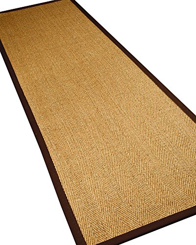 NaturalAreaRugs Capri Sisal Fiber Runne Runner Rug, Handmade in USA, 100% Sisal, Non-Slip Latex Backing, Durable, Stain Resistant, Eco/Environment-Friendly, (2 Feet 6 Inches x 8 Feet) Brown (Capri 8' Runner)