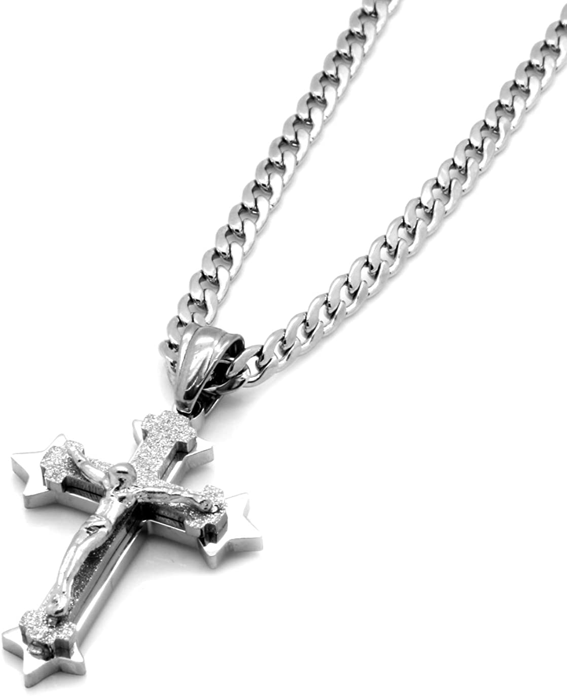 Mens Small Stainless Steel Mini Jesus Sharp Cross Pendant 24 4mm Cuban Necklace Chain