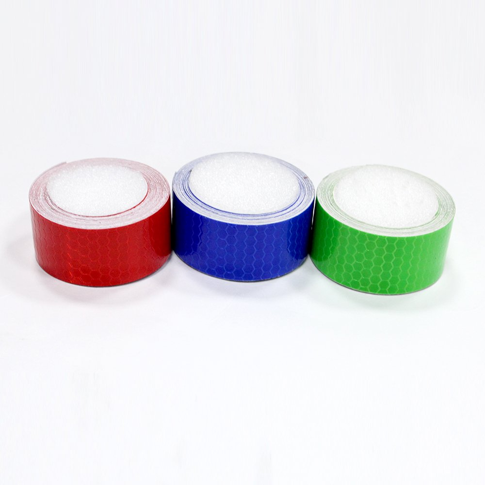 3Pcs 2.5cmx2.5m(1''x98'') Honeycomb Self-Adhesive Safety refelctive Tape Warning Tape Reflector Tape Security Marking Tape Waterproof for car/Trailers/Truck/Traffic/Construction site(Red,Blue,Green)