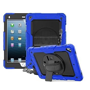 FAN SONG Funda para iPad Air 2, 3-en-1 Funda Silicona Resistente Antigolpes con Soporte y Correa de Mano y Bandolera, Portalápiz [360 Grados de ...