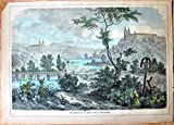 Antique Steel Engraving: River View with Buildings