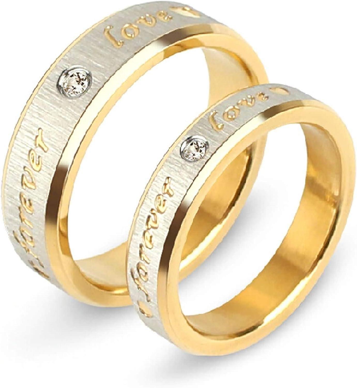 Amody 1 par Alianza romántica Promesa de Compromiso de Boda para Amante Anillo Cepillado Dorado Grabado Forever Love tamaño 9,5-30