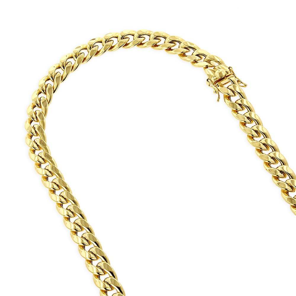 IcedTime 10K Yellow Gold Hollow Miami Cuban 8mm Wide Chain Open Link Necklace Box Lock Clasp 30'' Long
