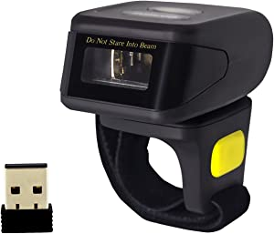 2D Bluetooth Ring Barcode Scanner,Symcode Wearable Wireless Finger Mini Bar Code Reader Scanner