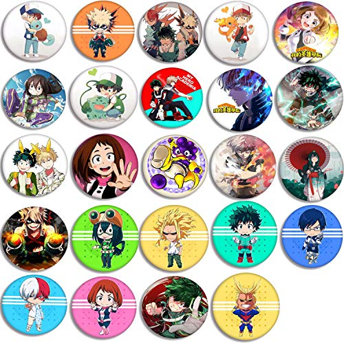 My Hero Academia Button Pins Set – 24 Pack My Hero Academia Button Pins MHA Characters Pins Bag Accessories for Anime…