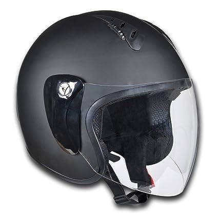 Casco de Jet Piloto Moto/Scooter/Vespa Mitad de Cara XL Negro