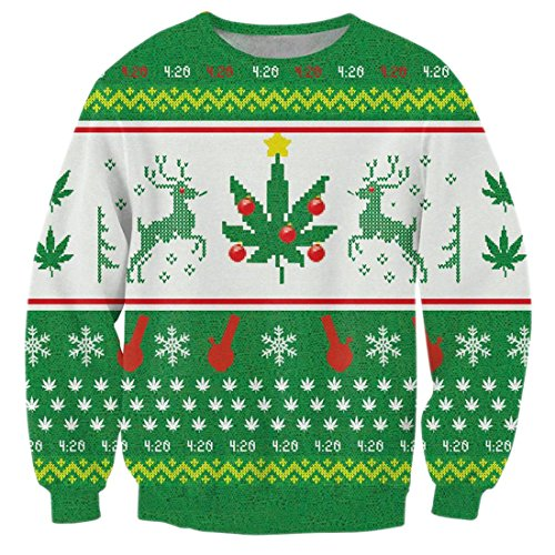 uideazone Men Women Ugly Christmas Snowflake Elk Pullover Sweatshirts X-mas Gift for Family