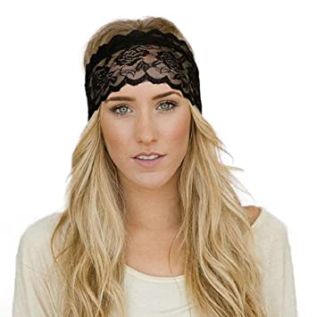 Koly Women Sports Running Headbands Vintage Lace Decoration Hair  Accessories Headwrap for Yoga Pilates Gym Headband d6fbafdb7a