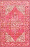 Unique Loom Aurora Collection Botanical Southwestern Medallion Pink Area Rug (5′ x 8′) For Sale