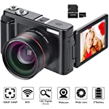 Digital Camera YouTube Vlogging Camera HD 1080P 24MP Video Camcorder 16X Digital Zoom with Wide Angle Lens, WiFi, Pause…