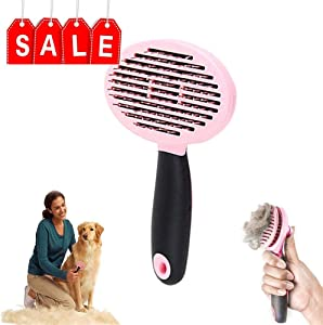Valentoria Professional Pet Grooming Brush Tool Self Cleaning Slicker Brush Pet Massage Brush Hair Fur Removal Brush for Long and Short Hair Remover Suitable Small Medium Large Dogs Cat