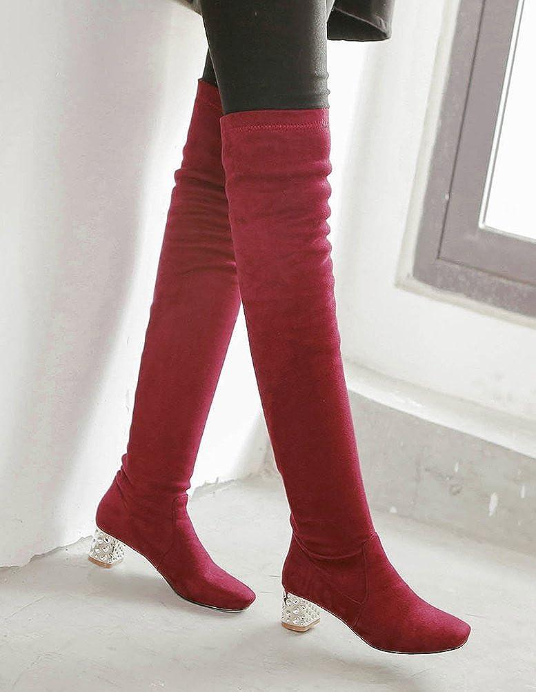 Easemax Overknee Damen Elegant Langschaft Overknee Easemax Elastisch Blockabsatz Glitzer Stiefel 219a7e