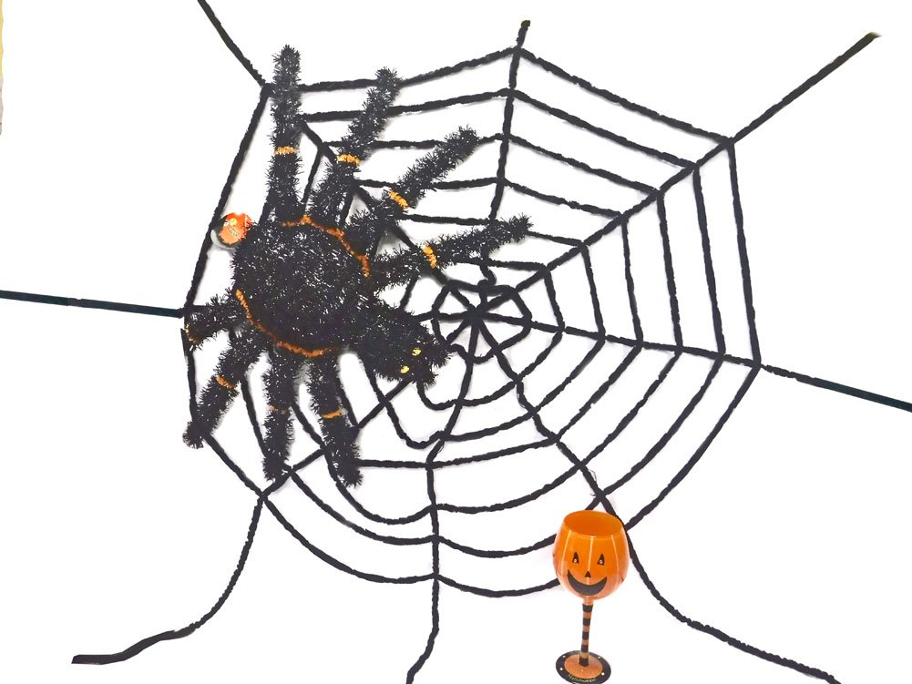 180D Large Chenille Spider Web Halloween Decor 68'' Wide