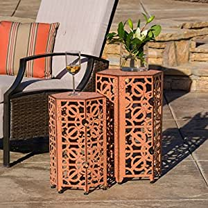 Outdoor parrish antique accent table set of 2 for Orange outdoor side table