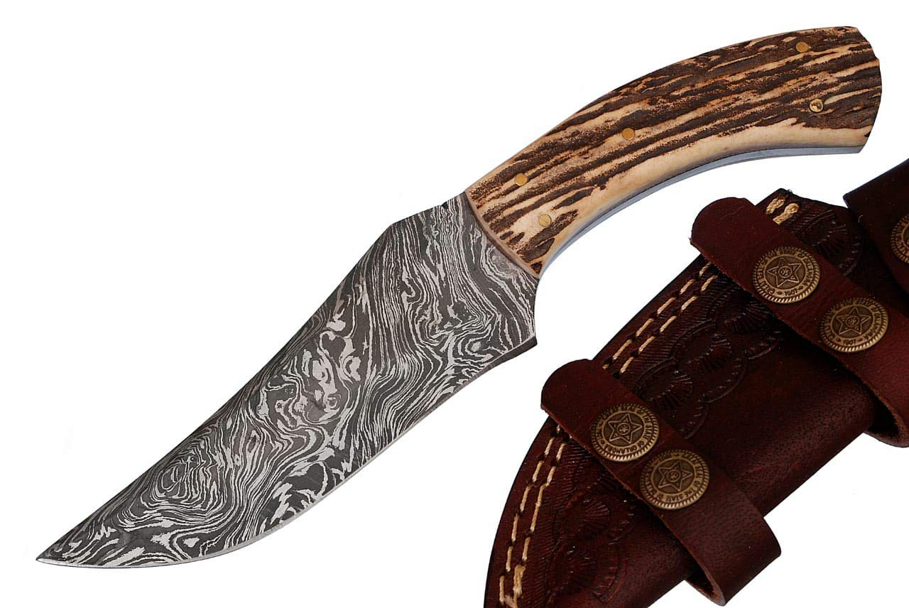 Grace Knives Handmade Damascus Hunting Knife 8.5 Inches G-1066 S (with Sheath)