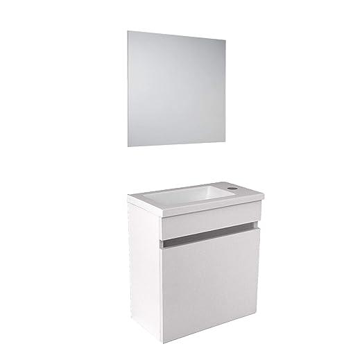 Lavabo Resina Blanco.Starbath Plus Conjunto Mueble Bano Suspendido Mdf 40x22 Lavabo Resina Y Espejo Oslo Blanco