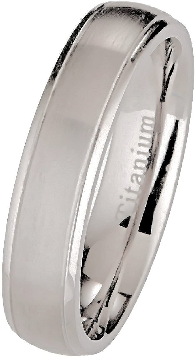 MJ Metals Jewelry 5mm or 7mm Brushed Polished Titanium Wedding Band Comfort Fit Band