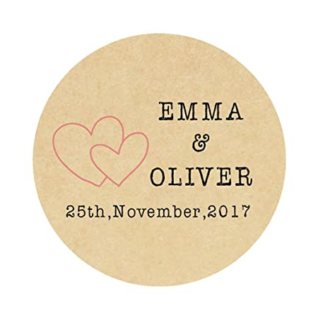 Ekunstreet 48x personalised 40mm kraft wedding engagement favour stickersfavour double heart sticker