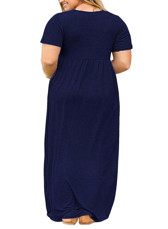 7c0a6187e83 POSESHE Women's Plus Size Tunic Swing T-Shirt Dress Long Sleeve Maxi Dress  with Pockets