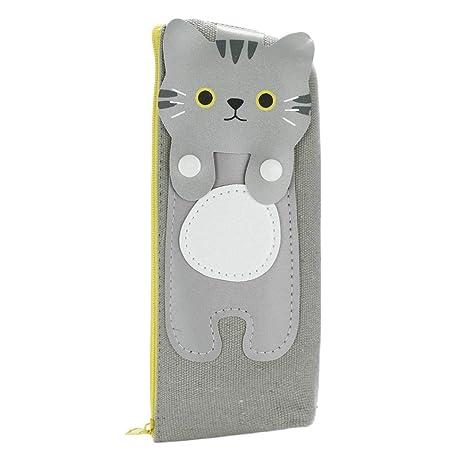 KFSO - Estuche para lápices, diseño de gato con cremallera