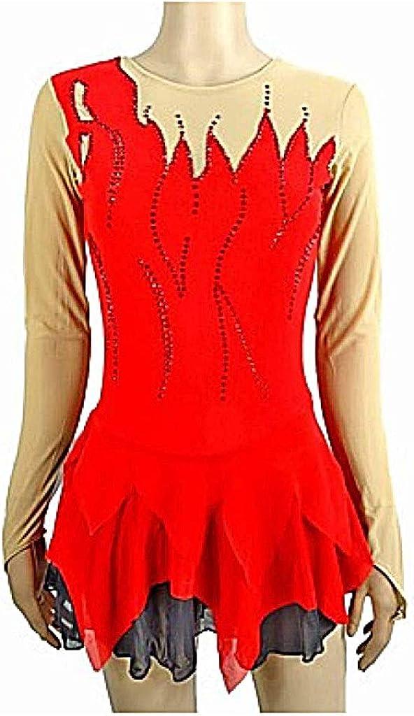 フィギュアスケートドレス、女性の女の子のための赤いスパンデックスマイクロ弾性プロフェッショナルコンペティションスケートウェア手作りスパンコールロングスリーブフィギュアスケート レッド L