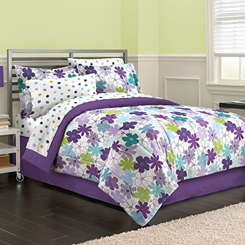 (First At Home Graphic Daisy Comforter Set, Full, Purple)