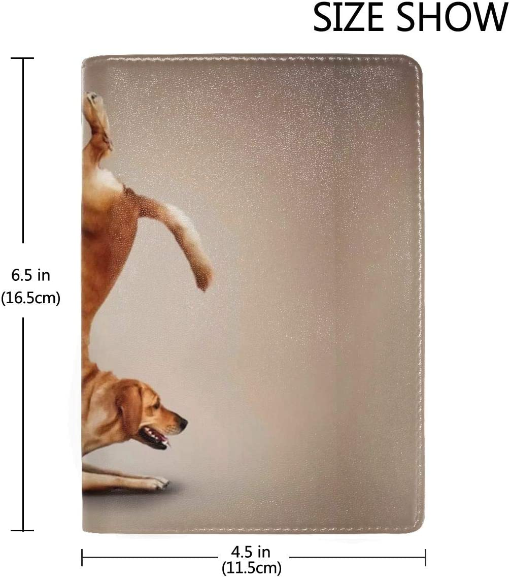 Funny Golden Retriever Fashion Leather Passport Holder Cover Case Travel Wallet 6.5 In