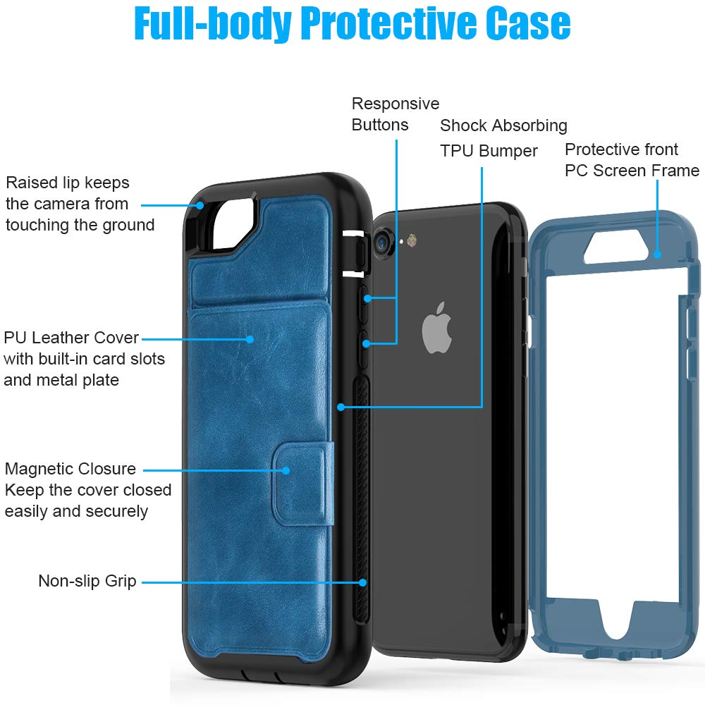 SXcase iPhone 6s/7 Case with Card Holder,Leather Wallet Dustproof Tough Shockproof Phone Case for Apple iPhone 6/8 (4.7 inch)[Blue]