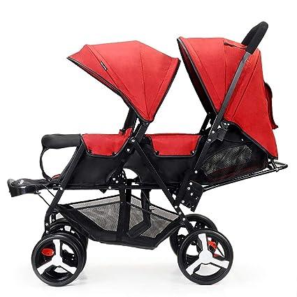 Guo@ Carro infantil doble, cochecito de bebé gemelo Ligero plegable versión biplaza de coche