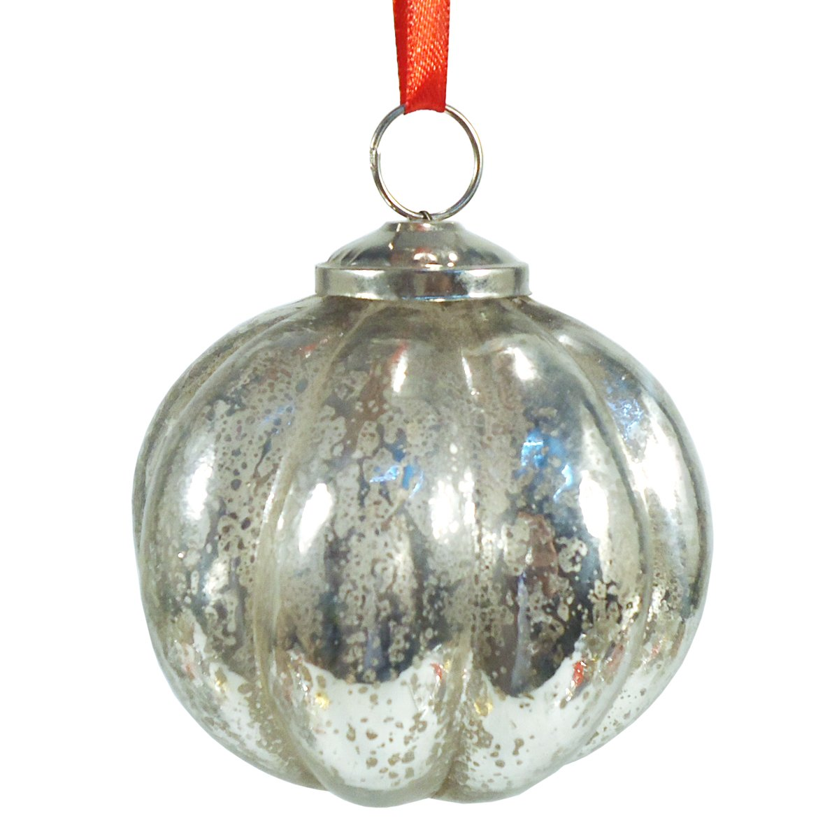 Silver Mercury Glass Pumpkin Ball Hanging Ornament
