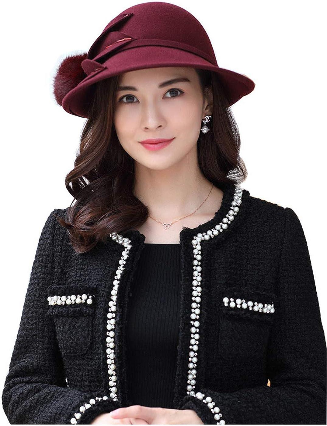 TTjII Womens hat Bell Shaped Cap 100/% Wool Windproof