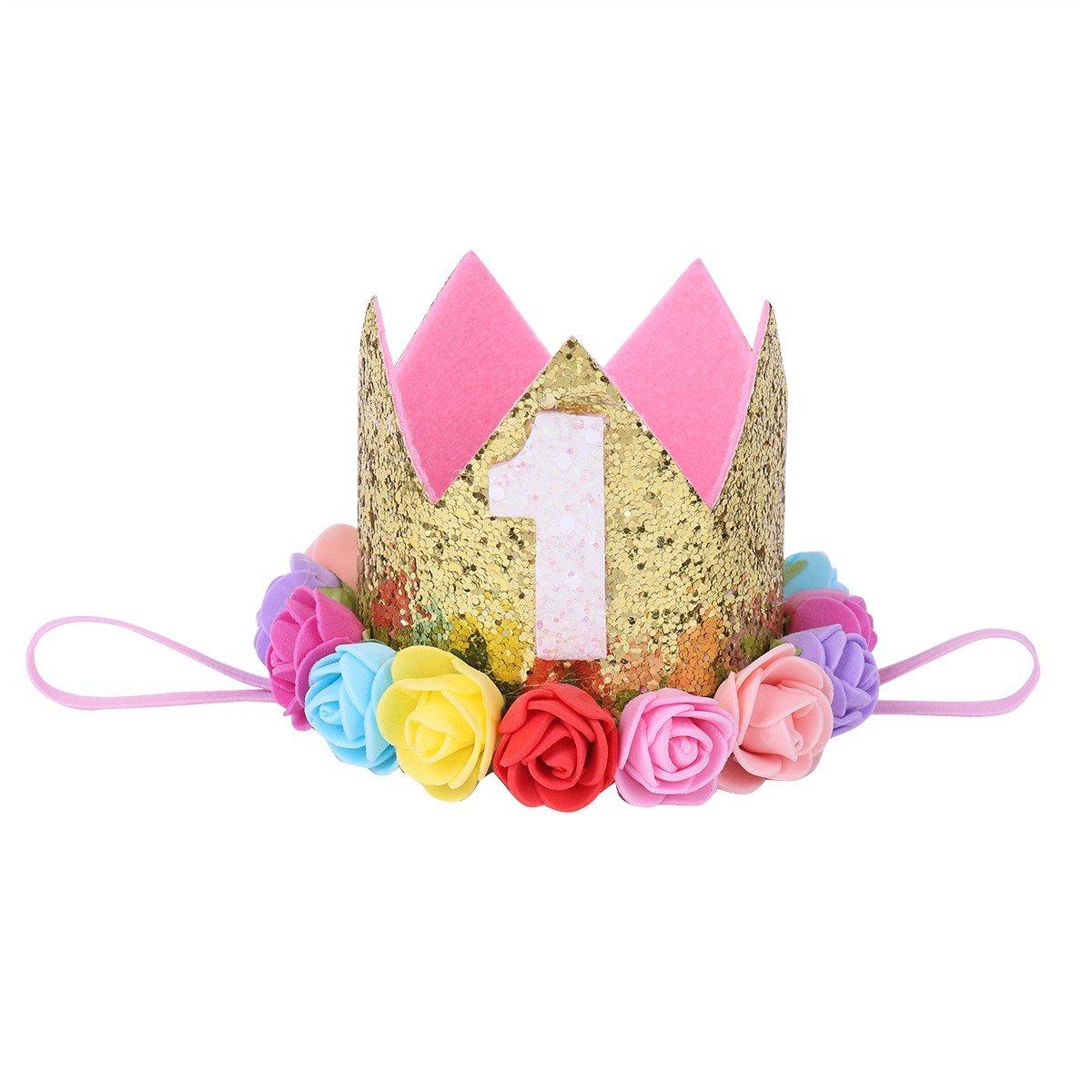 Freebily Infant Baby Girls 1st Birthday Hair Band Festival Party Hat Princess Crown Rose Flower Tiara Headband