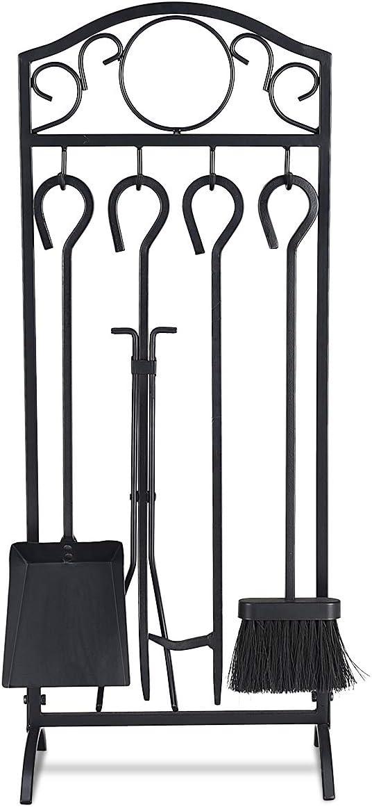 brosse Casart Lot de 5 outils de chemin/ée avec pince /à feu pelle outil en fer pour lint/érieur et lext/érieur tisonnier et base