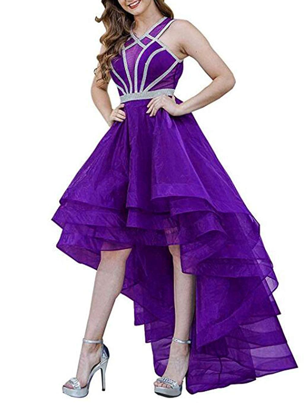 Purple alilith.Z Beaded Homecoming Dresses 2018 High Low Sexy Halter Long Formal Prom Dresses Party Gowns for Women