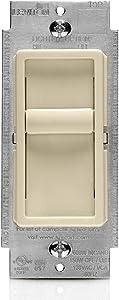 Leviton 6672-1LT SureSlide Universal 150W LED/CFL Incandescent Slide-To-Off Dimmer, Light Almond