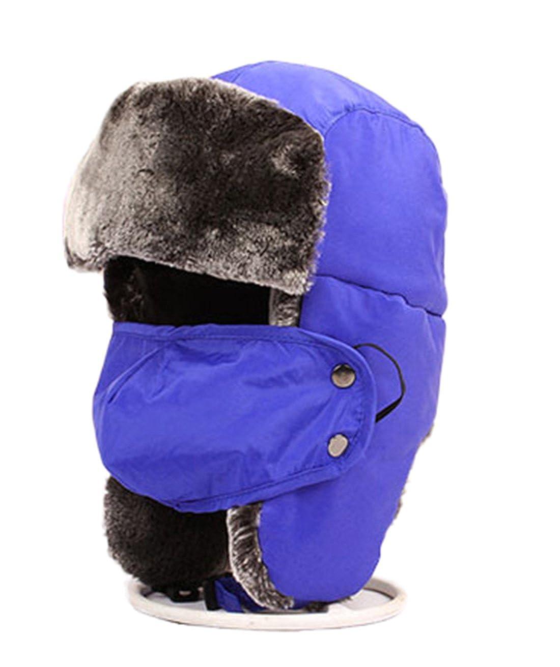 Kinder Mütze Winter Dicke Hüte Fliegermütze Trapper Trooper mit Ohrenklappen Maske Winddichte Warm Cap