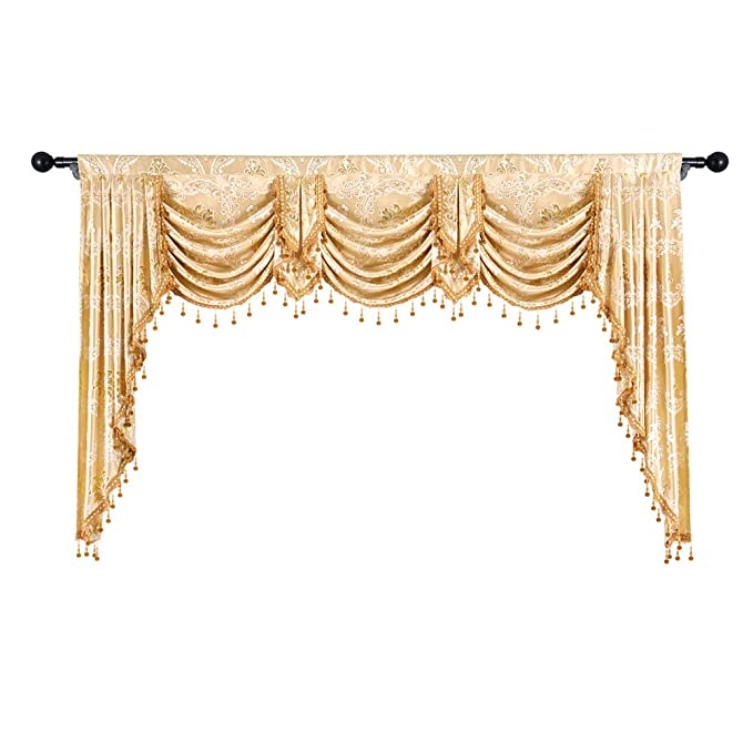 Elkca Golden Jacquard Swag Waterfall Valance Luxury Curtain Valance For Living Room (Damask Golden, W79 Inch, 1 Panel) by Elkca