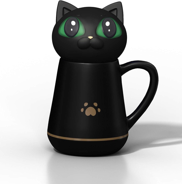 BZY1 Taza de café con Tapa de Silicona Suave para Gato, se Puede amasar y apretar, Regalo Creativo, Apto para Oficina y hogar, Taza de descompresión, 350 ml, 12 onzas, cerámica, Negro