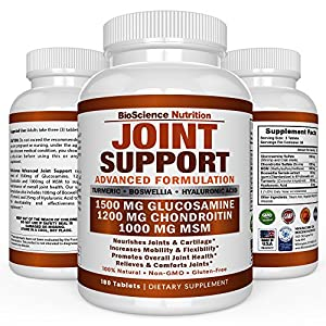 Glucosamine Chondroitin Turmeric MSM Boswellia - Joint Support Supplement for Relief 180 Tablets - BioScience Nutrition