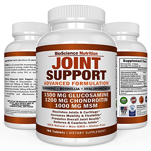 Glucosamine Chondroitin Turmeric MSM Boswellia - Joint Support Supplement for Relief 180 Tablets - BioScience Nutrition (Foods Joint Support)