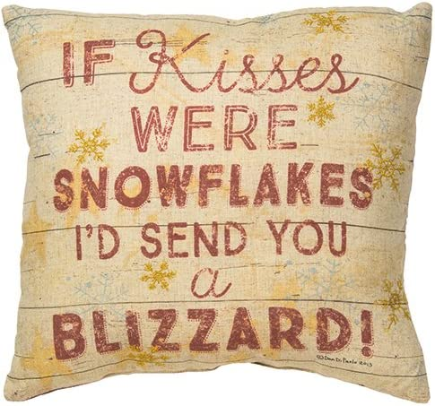 Primitives by Kathy Holiday If Kisses were Snowflakes Throw Pillow