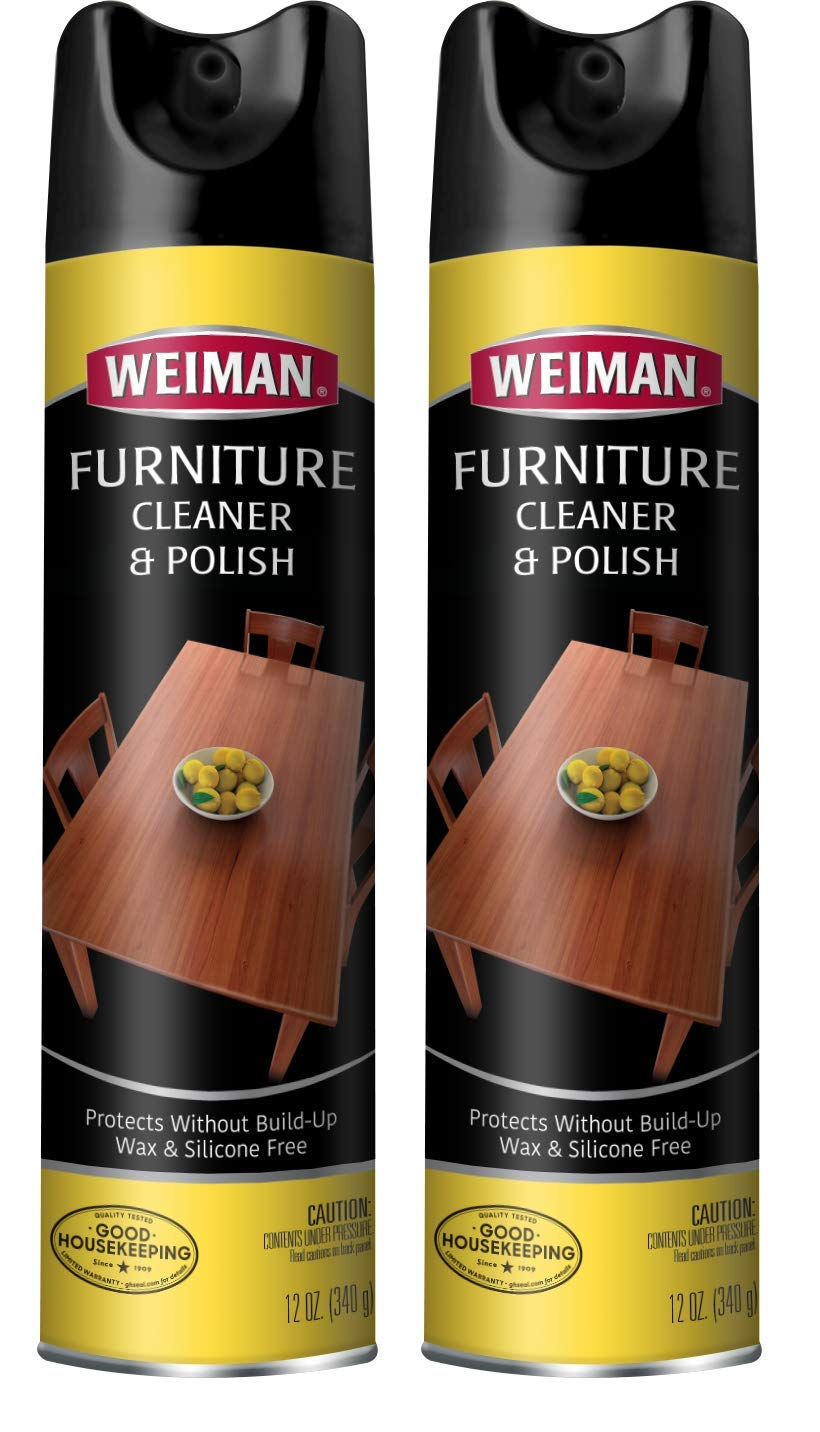 Weiman Wood and Furniture Cleaner and Polish - 12 Ounce (2 Pack) - Aerosol Protect Clean Polish Wax Your Wood Tables Chairs Cabinets