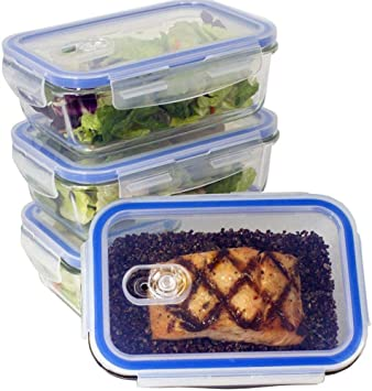 Amazon Com Premium 4 Sets Glass Meal Prep Food Storage Container With Snap Locking Lid Glass Meal Prep Containers Bpa Free Airtight Microwave Oven Freezer Home Improvement