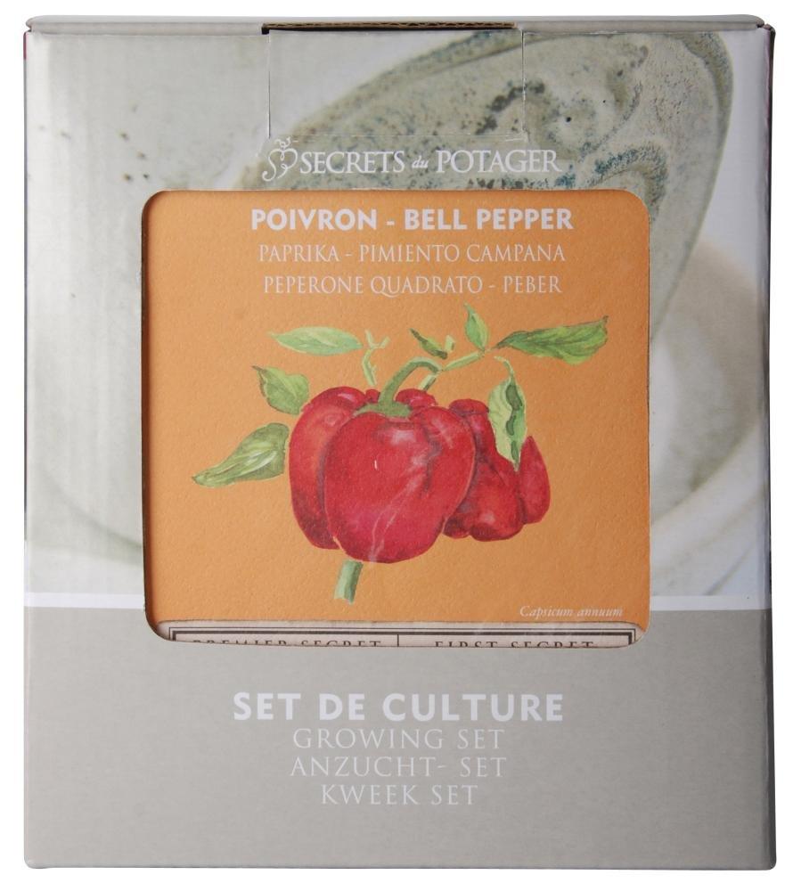 2 Stück Esschert Design Anzucht-Set Paprika, bestehend aus: Saatgut und Blumenerde inkl. Raku-Blumentopf, Untersetzer und Pflanzschild